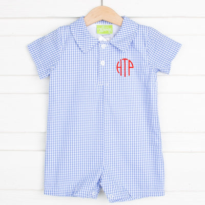 Collared Boy Romper Blue Gingham