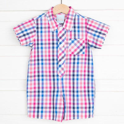 Collared Boy Romper Navy and Pink Plaid