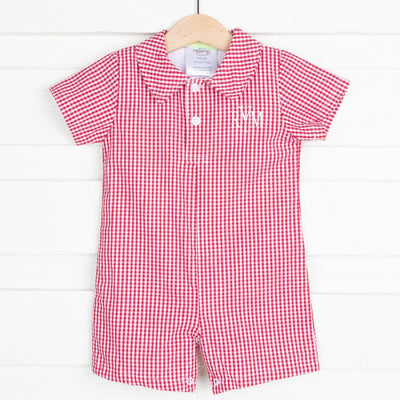 Collared Boy Romper Red Gingham
