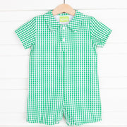 Green Gingham Collared Boy Romper