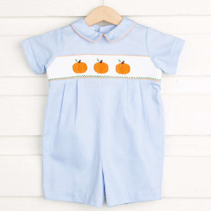 Pumpkin Smocked Collared Boy Romper Light Blue
