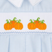 Smocked Pumpkin Boy Long Romper Light Blue Gingham