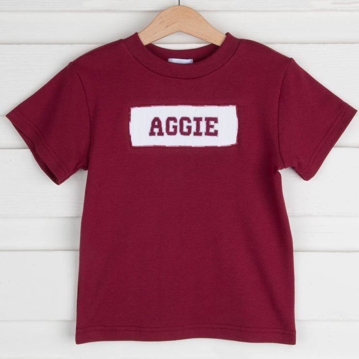 Aggie Smocked Shirt Knit Maroon