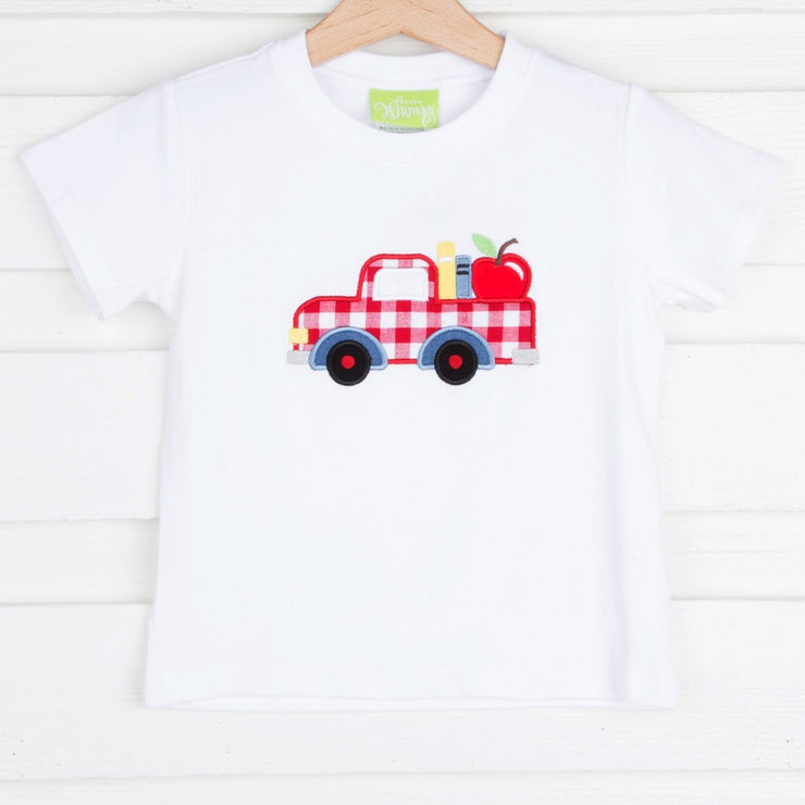Apple Truck Applique Shirt Knit White
