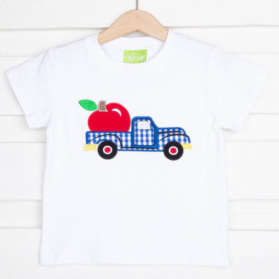 Apple Truck Applique Short Sleeve Shirt White