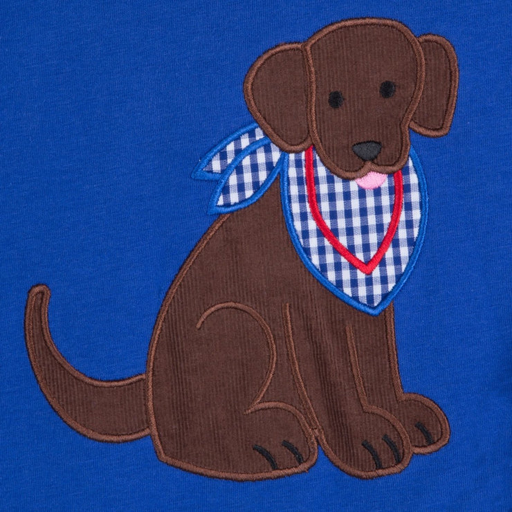 Applique Chocolate Lab Long Sleeve Shirt Royal Blue Knit