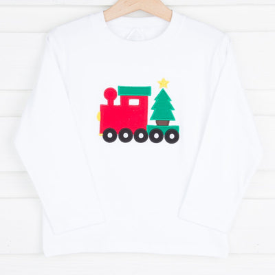 Applique Christmas Train Long Sleeve Shirt White Knit