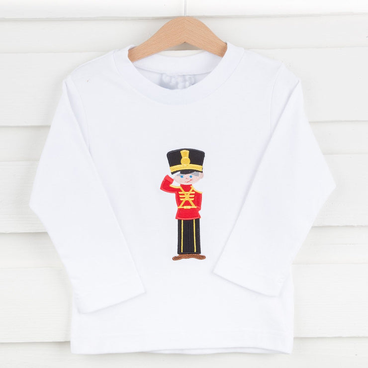Applique Nutcracker Long Sleeve Shirt White