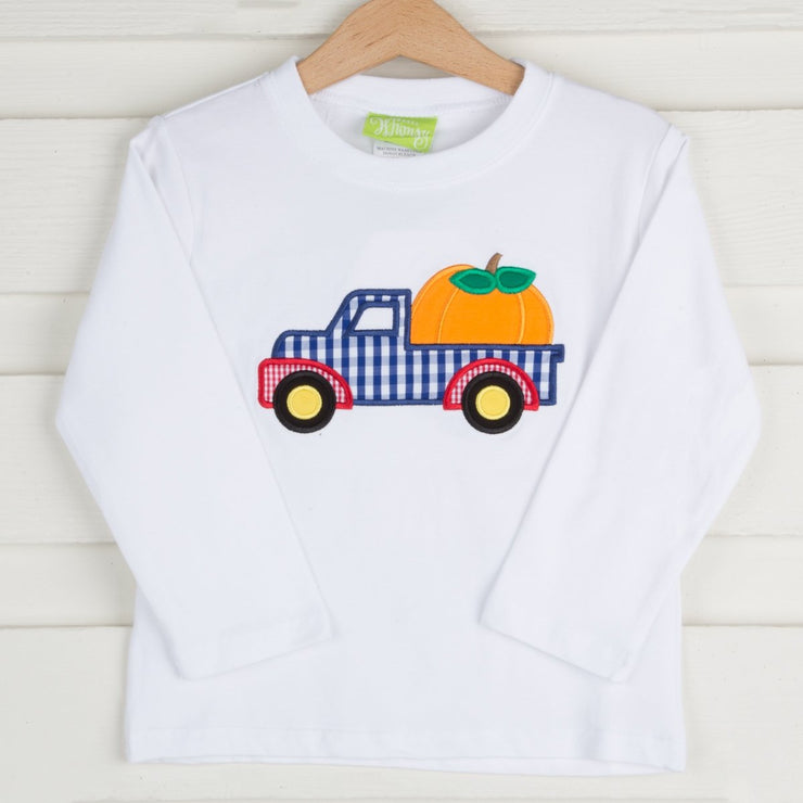Applique Pumpkin Truck Long Sleeve Shirt White Knit