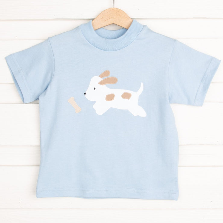 Applique Puppy T Shirt Light Blue Knit
