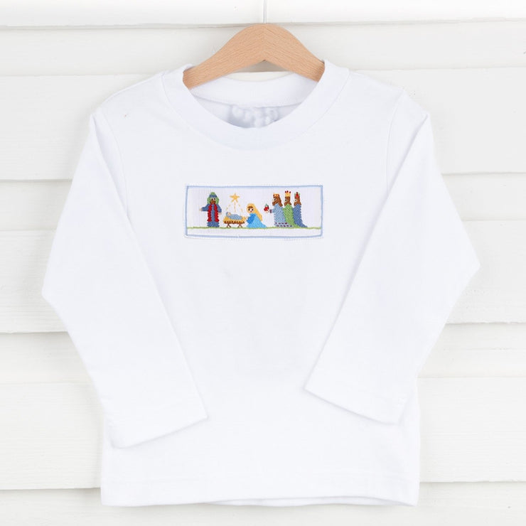 Boys Smocked Nativity Shirt White