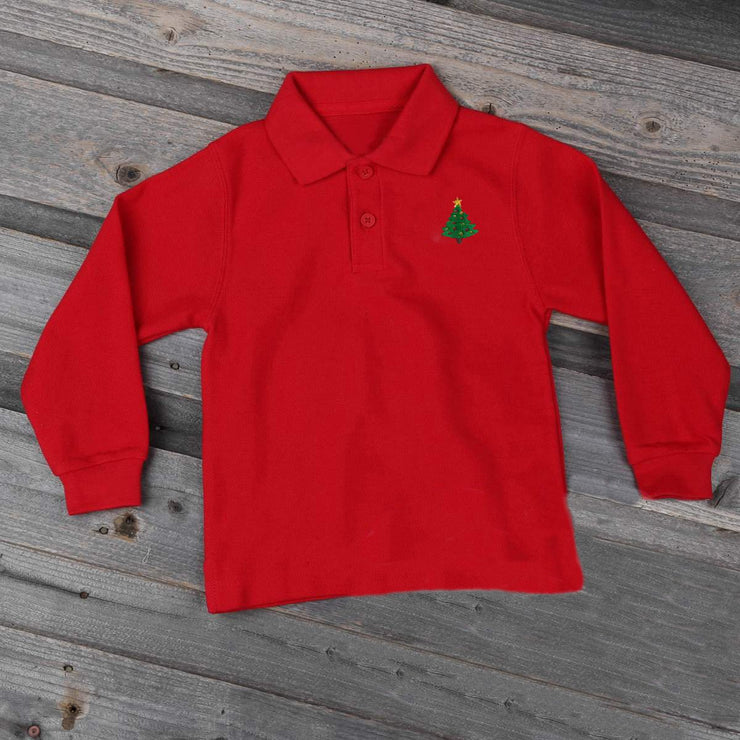 Christmas Tree Long Sleeve Polo Red