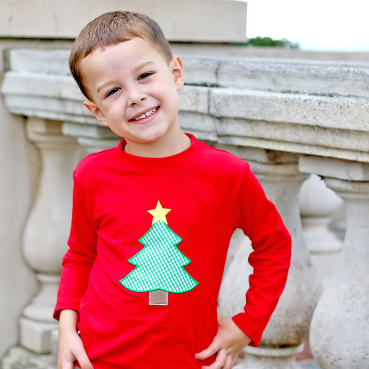 Christmas Tree Red Long Sleeve T Shirt
