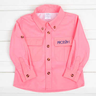 Girls Fishing Shirt Coral Pink