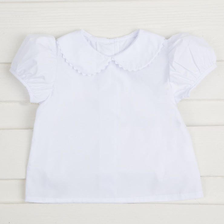 Girls White Short Sleeve Undershirt w Ric Rac