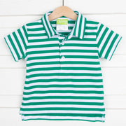 Green and White Stripe Knit Polo