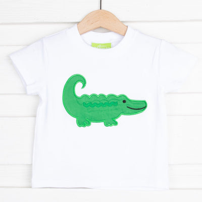 Knit Alligator Applique Short Sleeve Shirt White