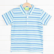 Knit Polo Shirt Blue and Mint Stripe
