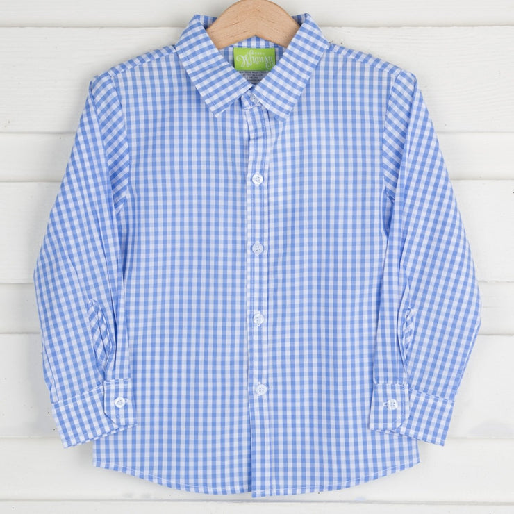 Light Blue Gingham Button Up Shirt