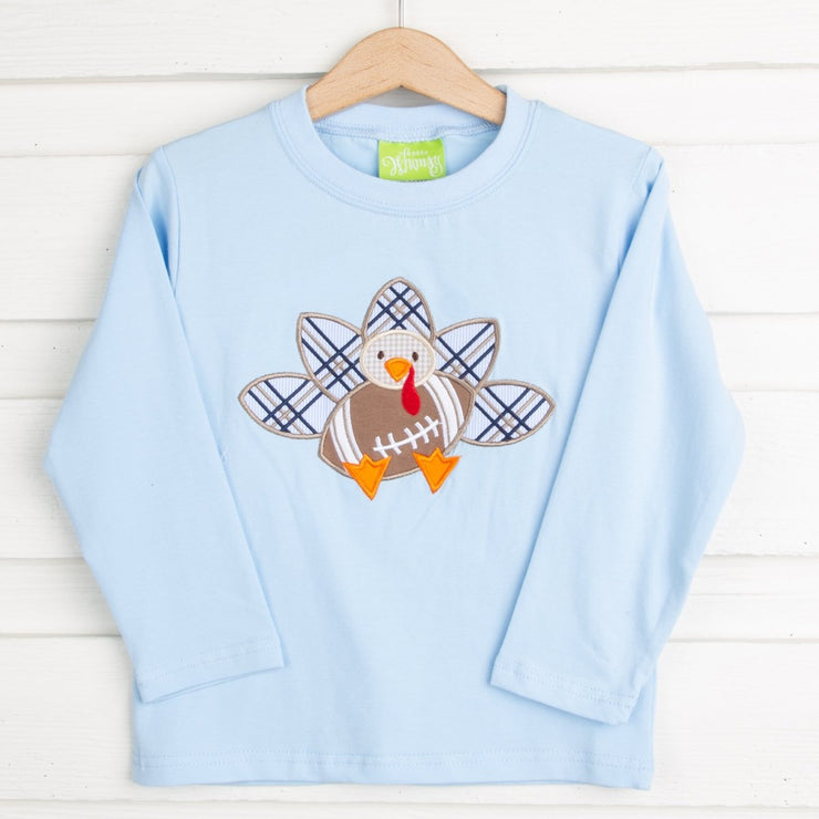 Light Blue Turkey Football Long Sleeve T Shirt