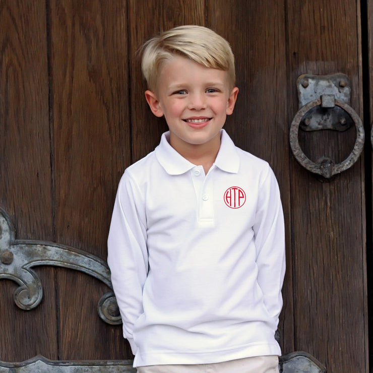 Long Sleeve White Polo with Monogram