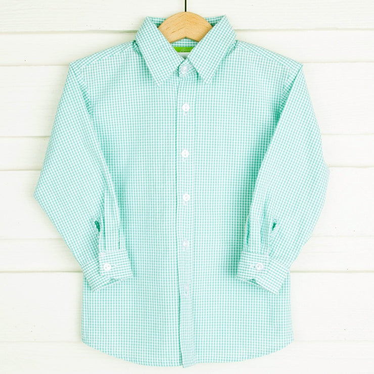 Mint Seersucker Button Down
