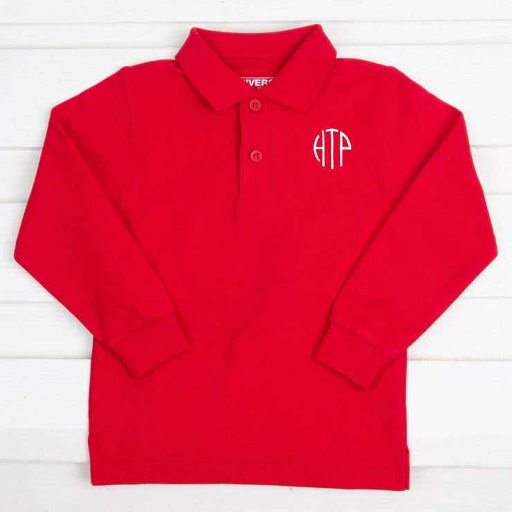 Monogram Long Sleeve Polo Shirt