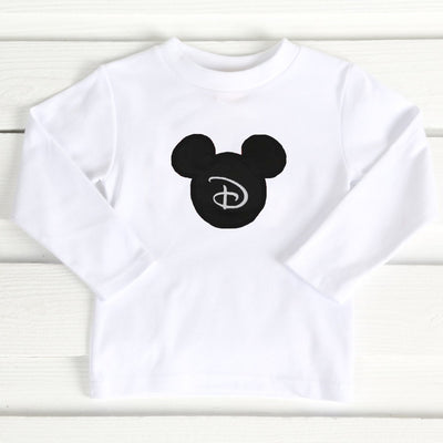 Mouse Ears Applique Long Sleeve Shirt White