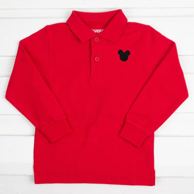 Mouse Ears Long Sleeve Polo Red