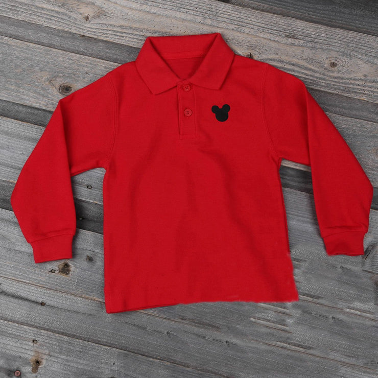 Mouse Ears Polo Red Long Sleeve