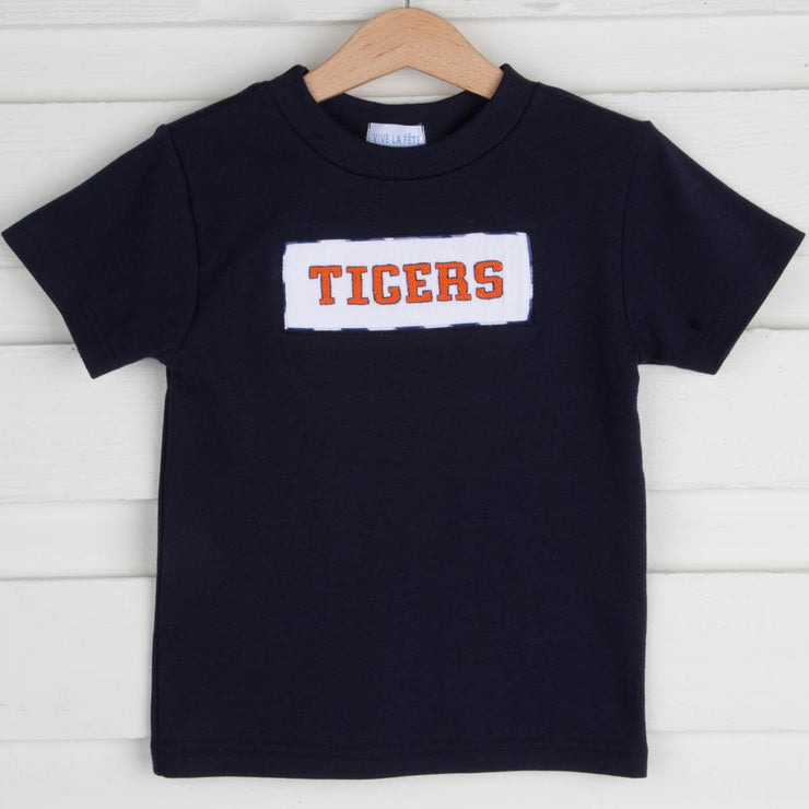 Navy Knit Tigers Smocked Shirt