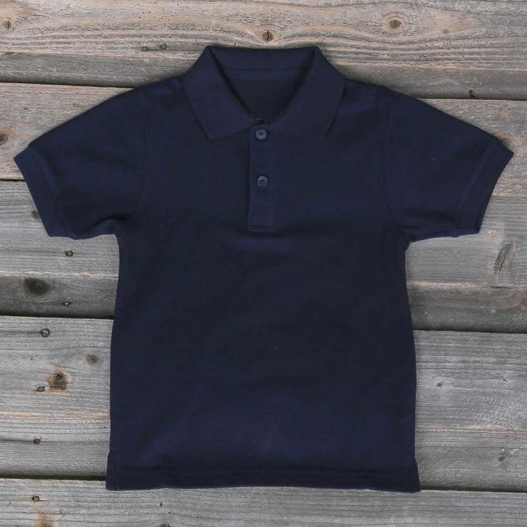 Navy Short Sleeve Polo with Monogram