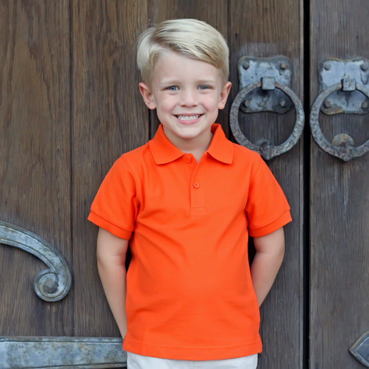 Orange Short Sleeve Polo w Monogram