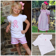 Pink Ribbon Short Sleeve Polo White