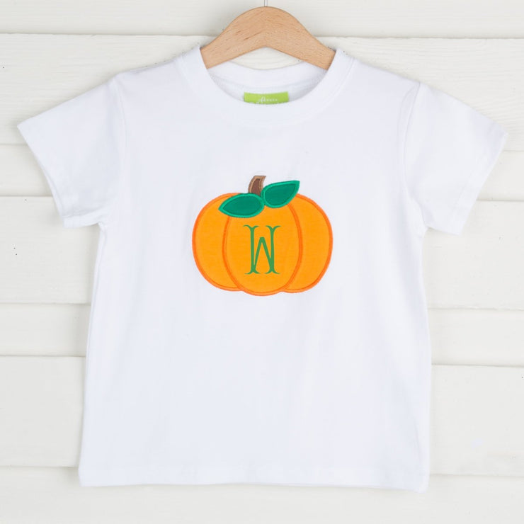 Pumpkin Applique Short Sleeve Shirt White