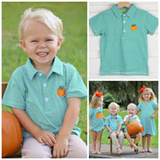 Pumpkin Knit Polo Green Stripe