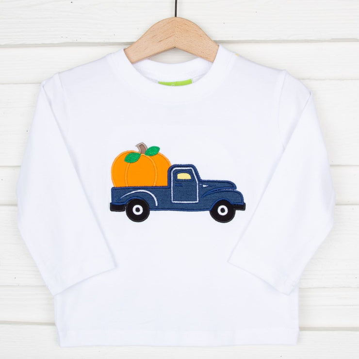 Pumpkin Truck Applique Long Sleeve Shirt White