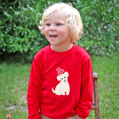 Puppy Love Applique Long Sleeve Shirt Red Knit