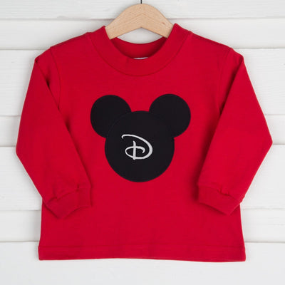 Red Long Sleeve Applique Mouse Ears Shirt