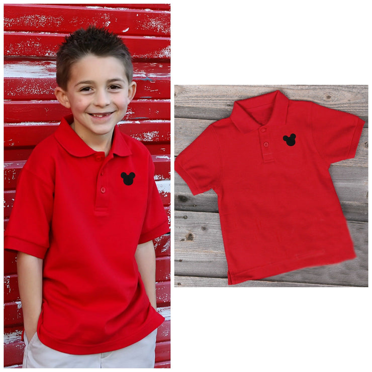 Red Mouse Ears Short Sleeve Polo