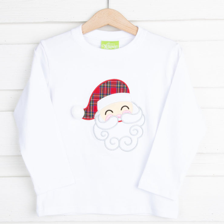 Red Plaid Hat Santa White T Shirt