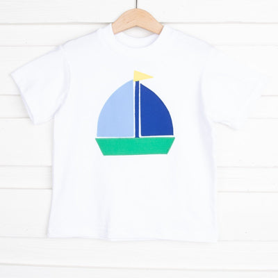 Sailboat Applique T Shirt White Knit