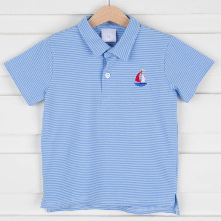 Sailboat Embroidered Polo Blue Knit Stripe