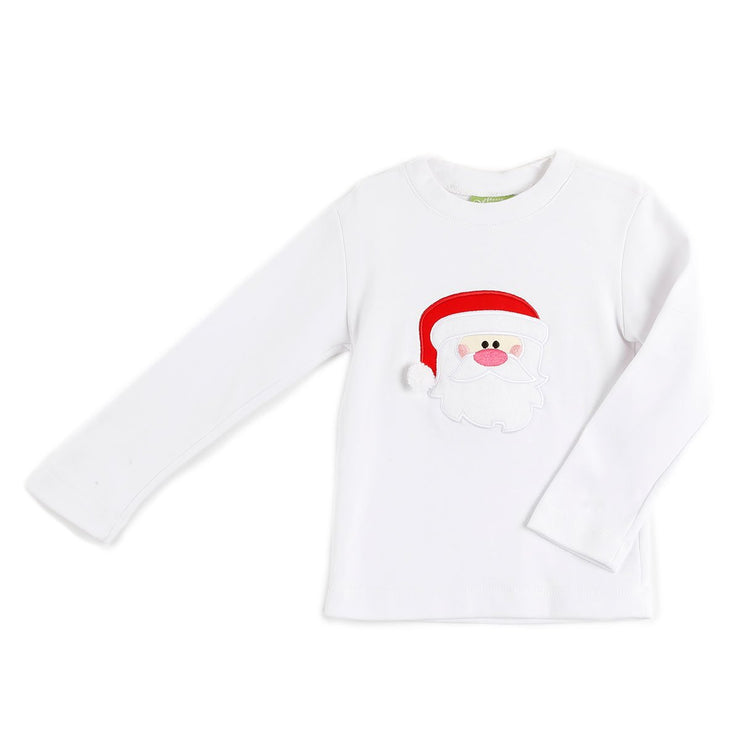 Santa Applique Long Sleeve Shirt White