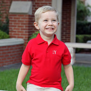Short Sleeve Polo Red w White Monogram