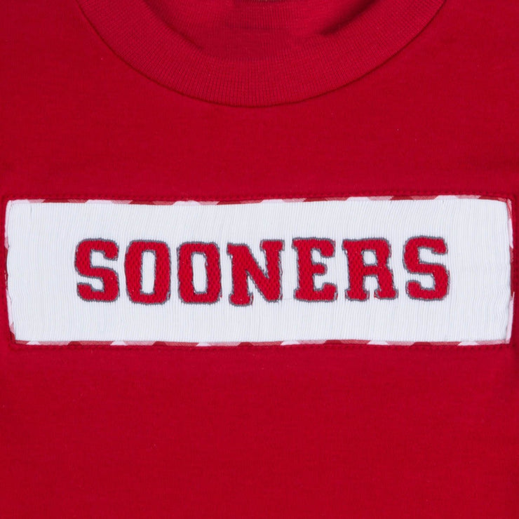 Smocked Sooners Shirt Red Knit