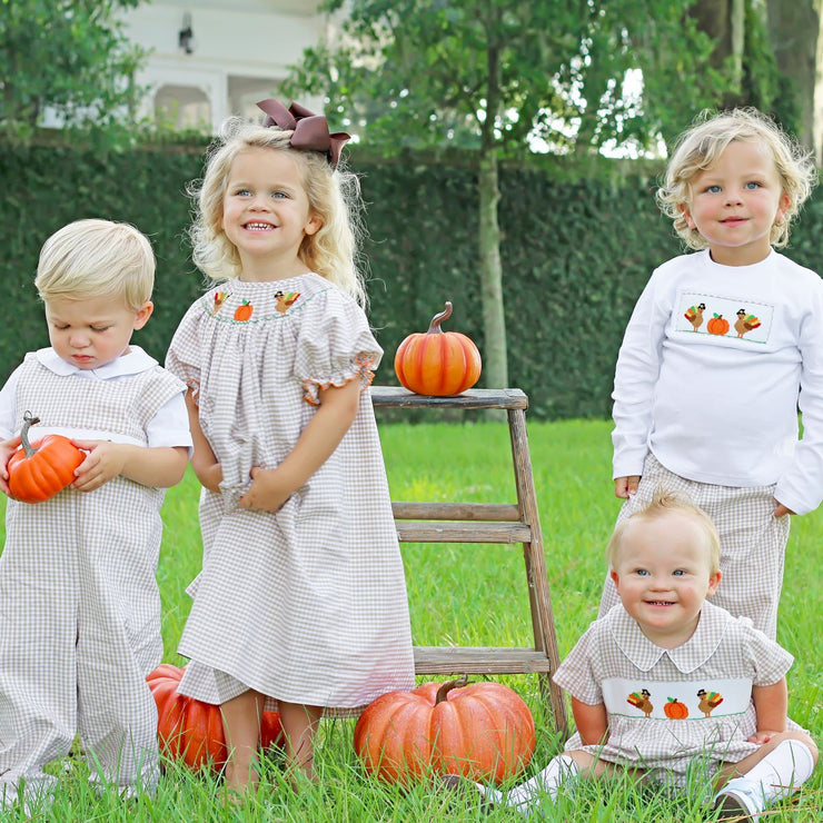 Thanksgiving Smocked Knit Long Sleeve Shirt White