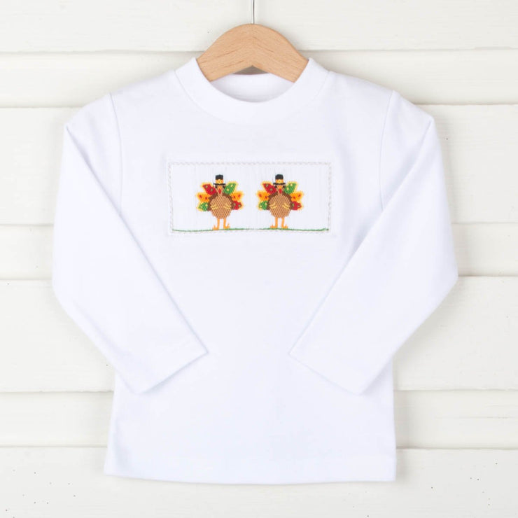 Turkey Smocked Long Sleeve Shirt White