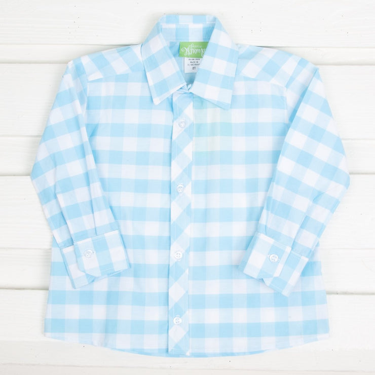 Turquoise Check Button Down