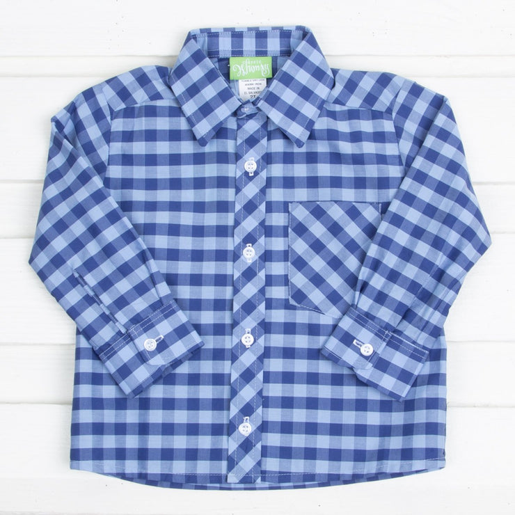 Two Toned Blue Plaid Button Down